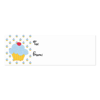Blue Cupcake Birthday Gift Tags Business Card