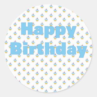 Blue Cupcake Birthday Sticker