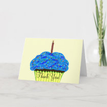 Blue Cupcake Birthday Thank You Cards