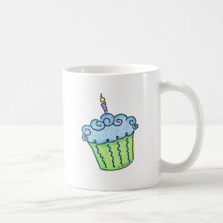 Blue cupcake classic white coffee mug
