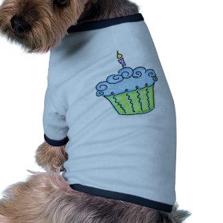 Blue cupcake dog tee