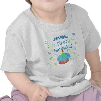 Blue Cupcake First Birthday Customizable shirt