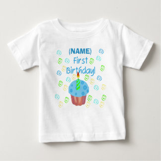 Blue Cupcake First Birthday Customizable T-shirt