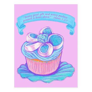 Blue Cupcake~Good Gift Scripture Postcard
