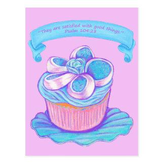 Blue Cupcake~Good Things Scripture Postcard