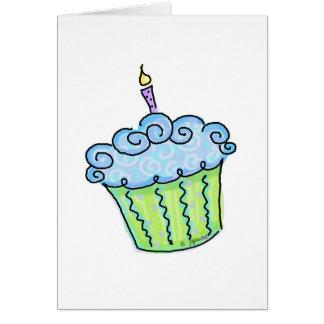 Blue cupcake greeting card