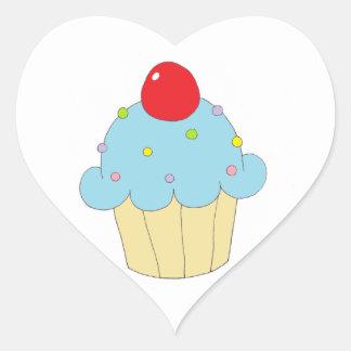 Blue Cupcake Heart Sticker