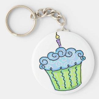 Blue cupcake keychains