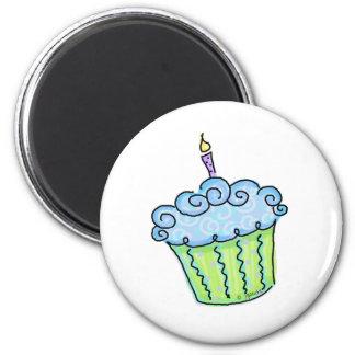 Blue cupcake fridge magnets