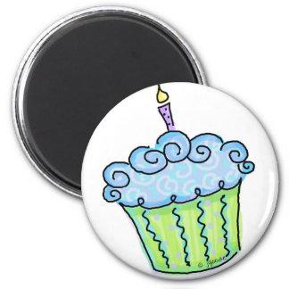 Blue cupcake refrigerator magnet