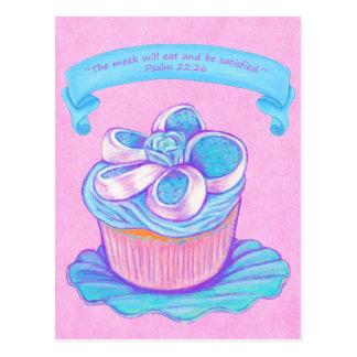 Blue Cupcake~Meek Eat Scripture Postcard