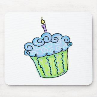 Blue cupcake mouse pad