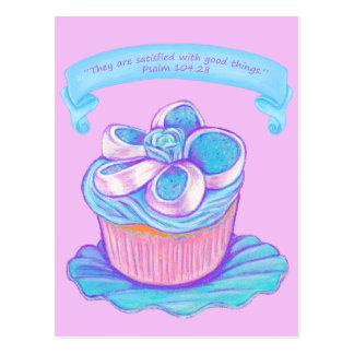 Blue Cupcake on Plate 2~ Scripture Postcard