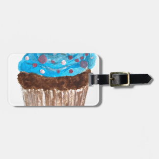 Blue cupcake party food luggage tag