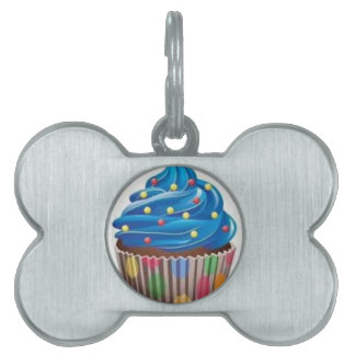 blue cupcake pet tag
