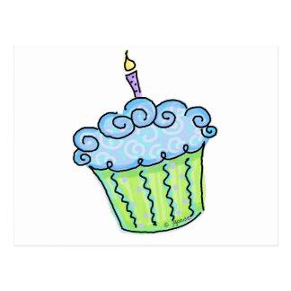 Blue cupcake post card