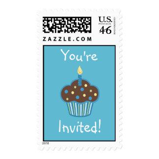 Blue Cupcake Postage Stamp
