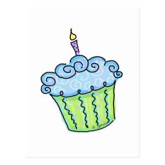 Blue cupcake postcard