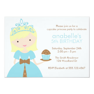 Blue Cupcake Princess Birthday Party 5x7 Paper Invitation Card