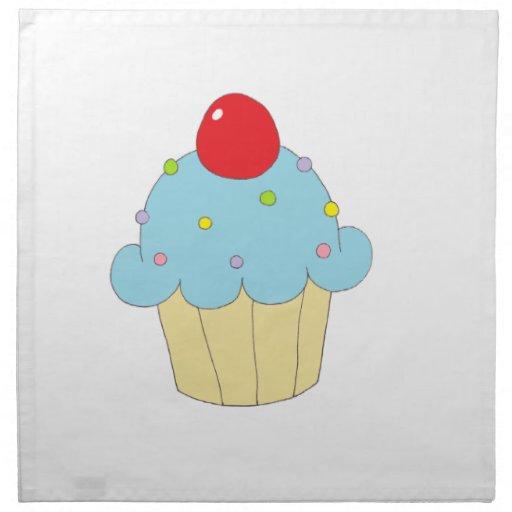 Blue Cupcake Printed Napkins