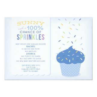 Blue Cupcake Sprinkles Baby Sprinkle Invitation