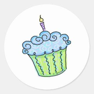 Blue cupcake round stickers