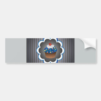 Blue Cupcake Strips/Dot Bumper Sticker