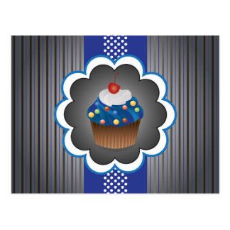Blue Cupcake Strips/Dot Postcard