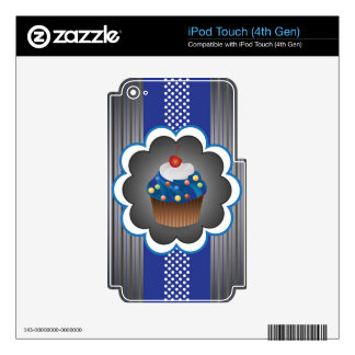 Blue Cupcake Strips/Dot Skins For iPod Touch 4G