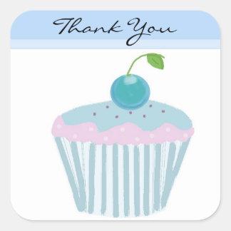 Blue Cupcake Thank You Square Sticker