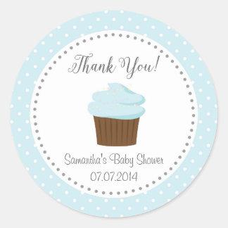 Blue Cupcake Thank You Sticker