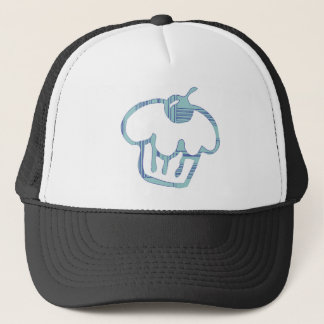 blue cupcake trucker hat