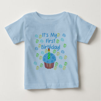 Blue Cupcake with Candle First Birthday Baby T-Shirt