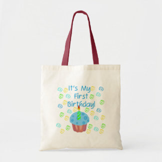 Blue Cupcake with Candle First Birthday Tote Bag