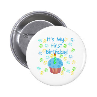 Blue Cupcake with Candle First Birthday Button