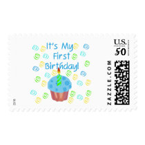 Blue Cupcake with Candle First Birthday Postage