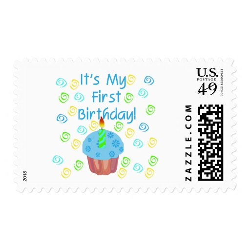 Blue Cupcake with Candle First Birthday Postage Stamps