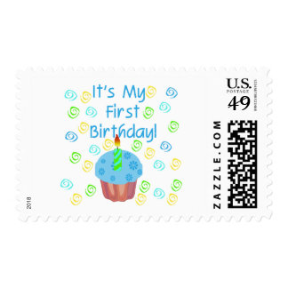 Blue Cupcake with Candle First Birthday Postage Stamp