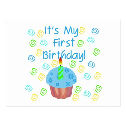 Blue Cupcake with Candle First Birthday Postcard