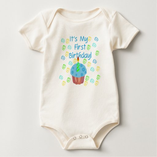 Blue Cupcake with Candle First Birthday Romper