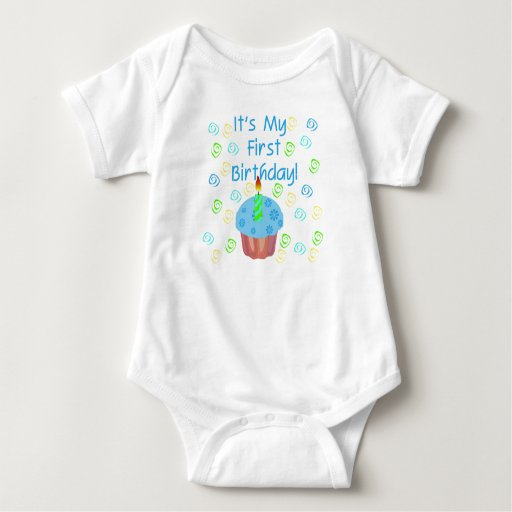 Blue Cupcake with Candle First Birthday Shirt
