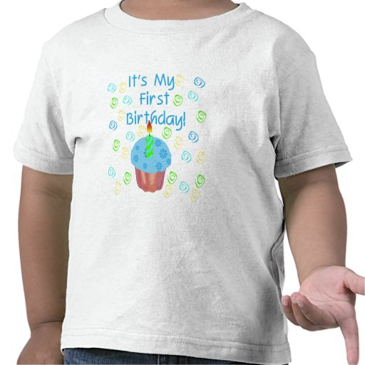 Blue Cupcake with Candle First Birthday Shirts