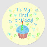Blue Cupcake with Candle First Birthday Round Sticker