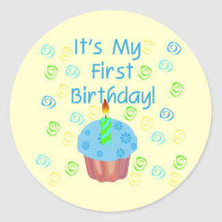 Blue Cupcake with Candle First Birthday Classic Round Sticker