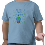 Blue Cupcake with Candle First Birthday T-shirts