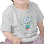 Blue Cupcake with Candle First Birthday T Shirts