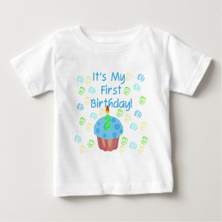 Blue Cupcake with Candle First Birthday Tees