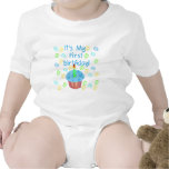 Blue Cupcake with Candle First Birthday Baby Bodysuits