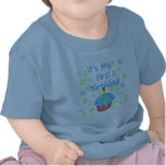 Blue Cupcake with Candle First Birthday Tshirts