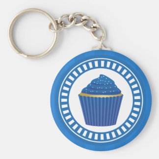 Blue Cupcake with White Sprinkles Basic Round Button Keychain